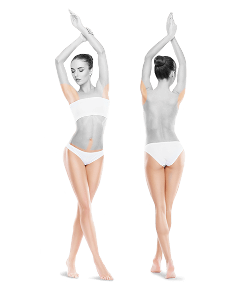 photo of woman front and back whole body one year treatments