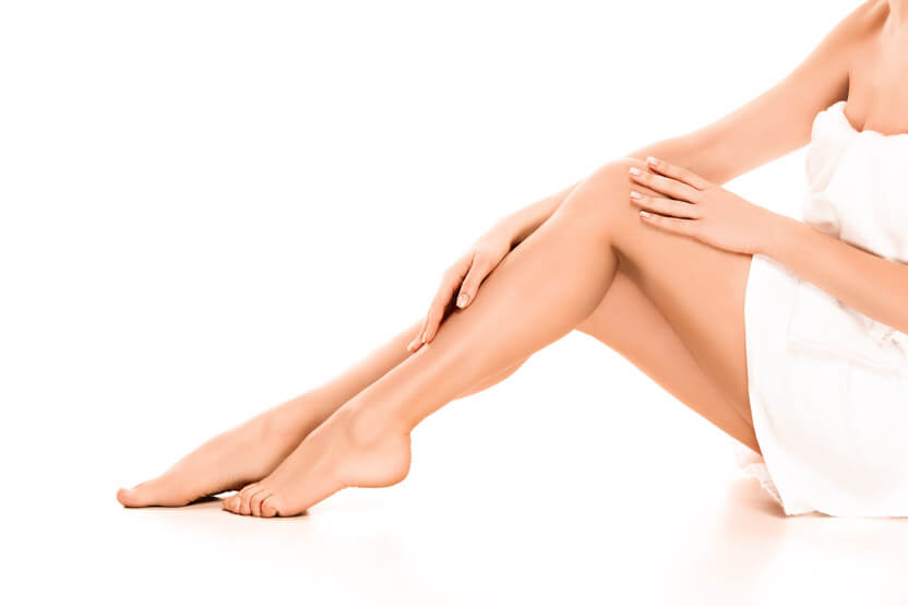 smooth legs on white background